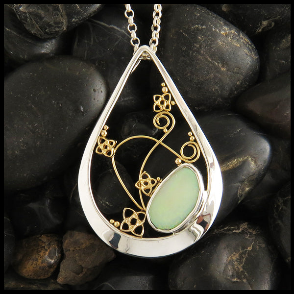 Custom Celtic Opal and Starlight Pendant in Silver and Gold