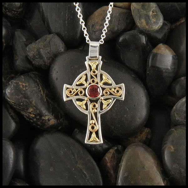 Small Celtic Cross Pendant with Garnet