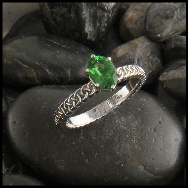Oval Tsavorite Josephine's Celtic Knot Ring in 14K White Gold
