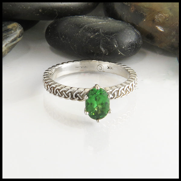 Oval Green Garnet Josephine's Celtic Knot Engagement Ring