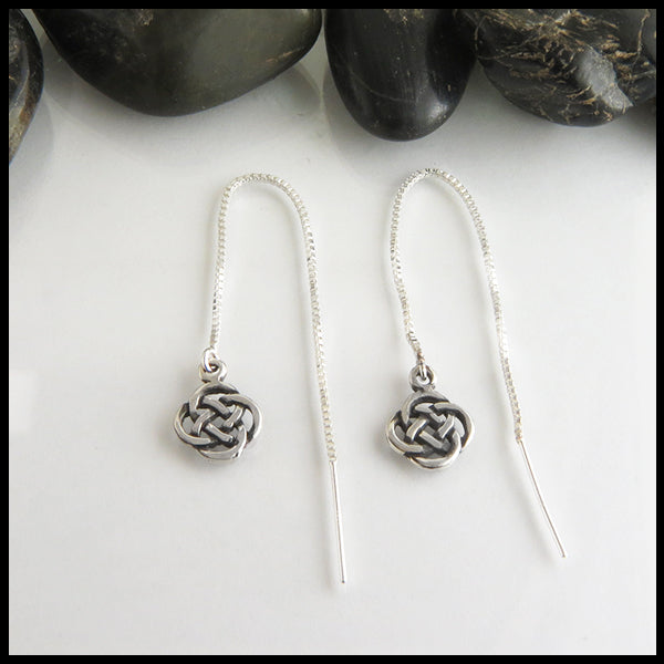 josephine's knot threader earrings in sterling silver
