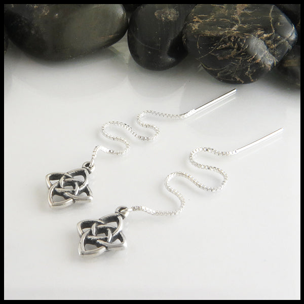 starlight knot threader earrings in sterling silver