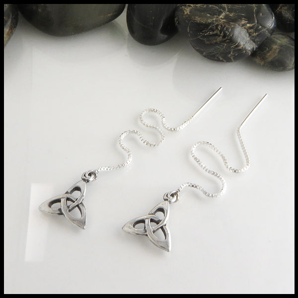trinity knot threader earrings in sterling silver