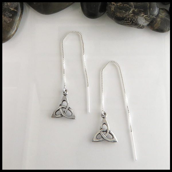 triquetra threader earrings in sterling silver