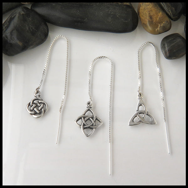 celtic knot threader earrings in three different knots