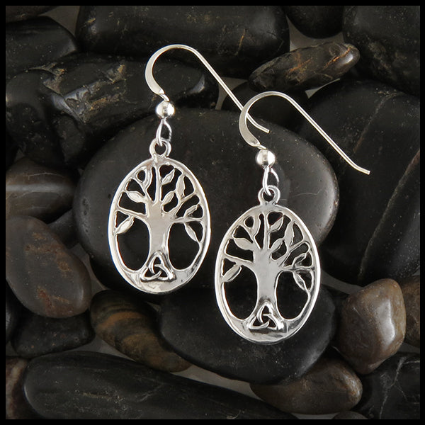 Oval Family Tree Pendant and Earring Set