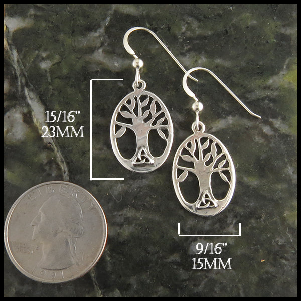 Family Tree Earrings with Celtic Trinity in Sterling Silver