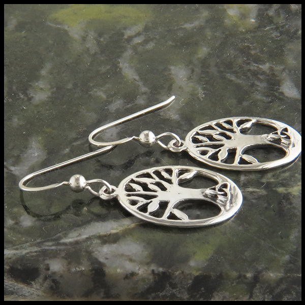Family Tree Earrings with triquetra in silver