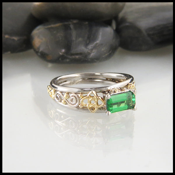 Custom Emerald Cut Tsavorite Engagement Ring