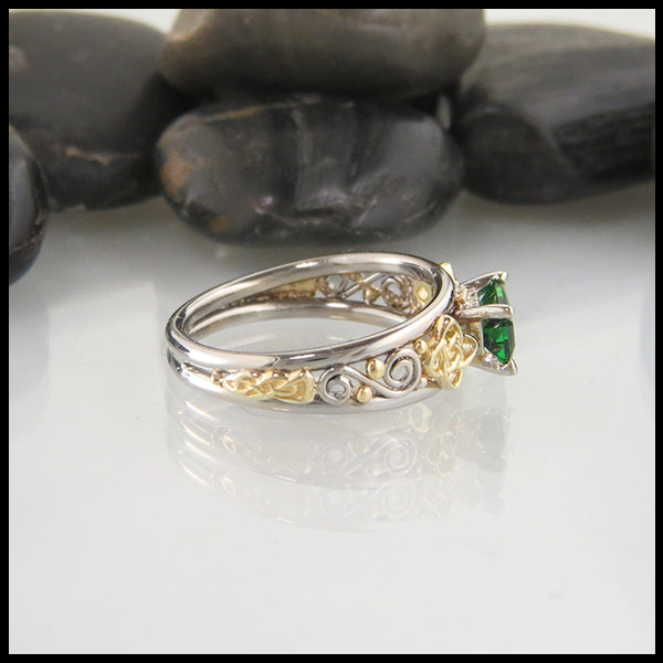 Custom Emerald Cut Tsavorite Engagement Ring in White and Yellow Gold