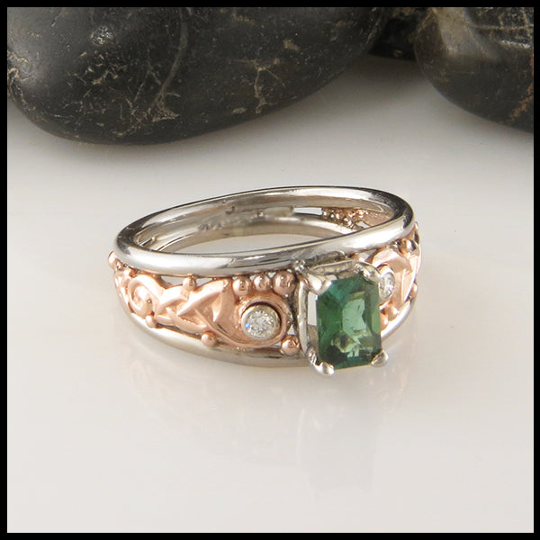 Custom Celtic Tourmaline and Diamond Engagement Ring