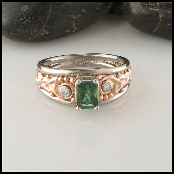 Custom Celtic Tourmaline and Diamond Statement Ring