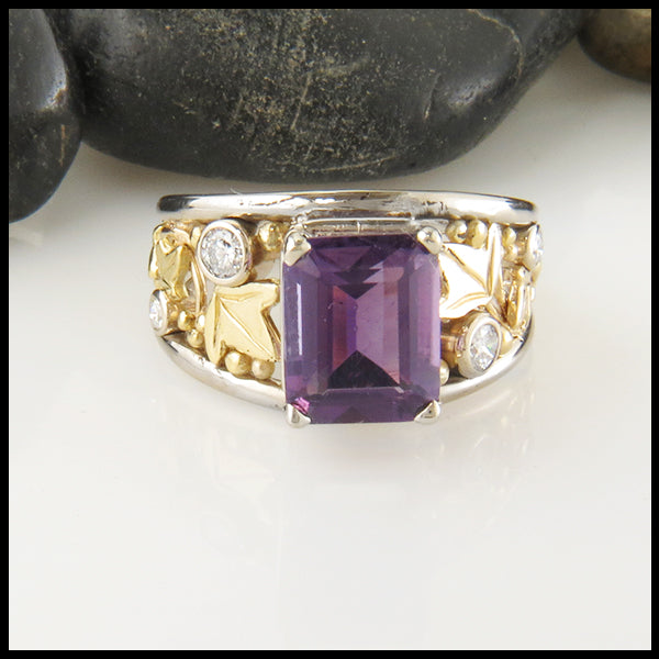 Amethyst and Diamond Statement Ring