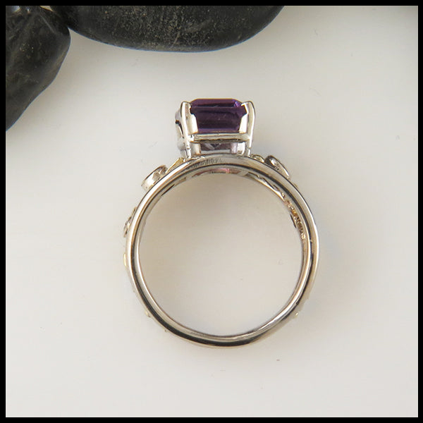 Amethyst and Diamond Custom Statement Ring