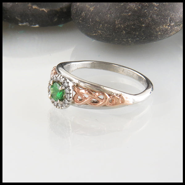 Custom Celtic Engagement Ring with Tsavorite and Diamond Halo