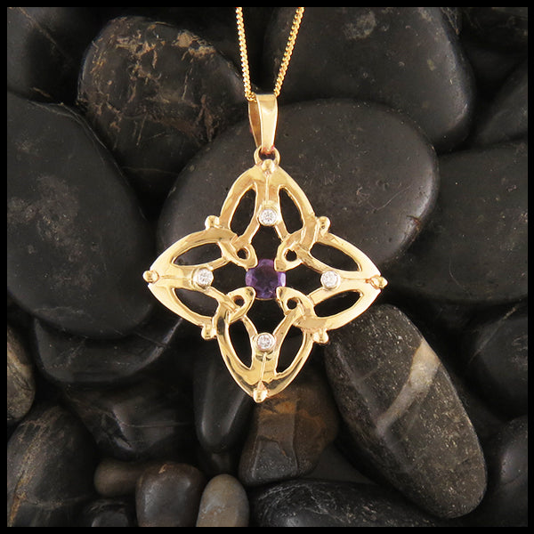 Trinity Star Pendant and Earring Set with Amethyst & Diamond