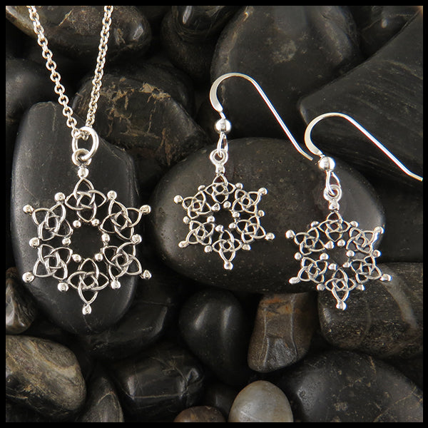 Celtic Snowflake Pendant and Earring Set in Sterling Silver