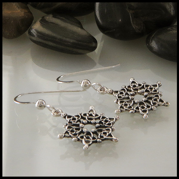 Celtic Snowflake Earrings in Sterling Silver