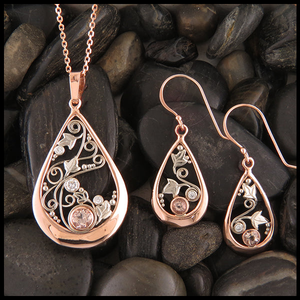 Teardrop Morganite and Diamond Rose Gold Pendant and Earring Set