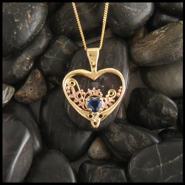 Heart and Sapphire Pendant & Earring Set in Gold