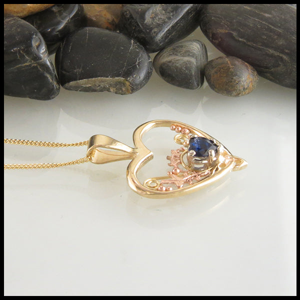 Heart Pendant with Sapphire