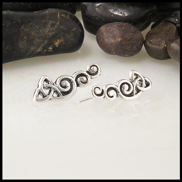 celtic trinity knot ear climbers in sterling silver