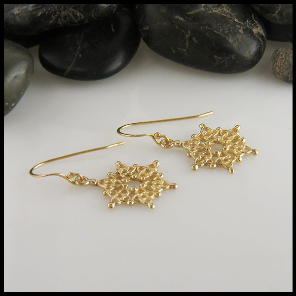 Gold Celtic Knot Snowflake Earrings
