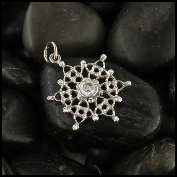 White Gold Celtic Snowflake with Diamond
