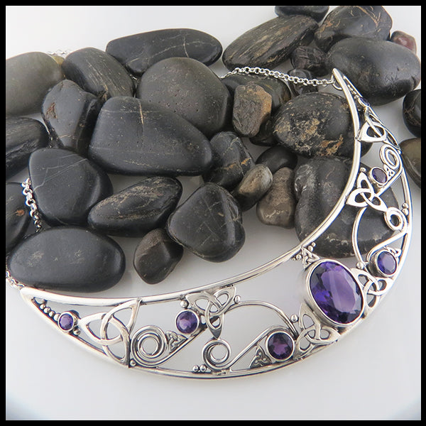 Custom Amethyst and Silver Bib Necklace
