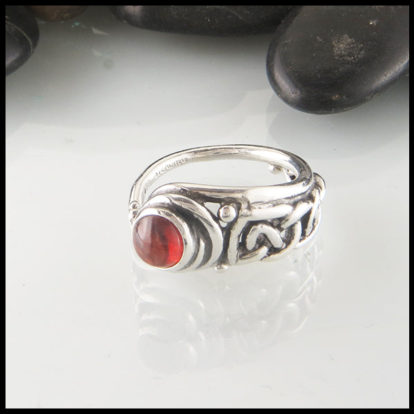 Asymmetrical Celtic Ring in Silver with Amethyst, Onyx, Garnet or Moonstone