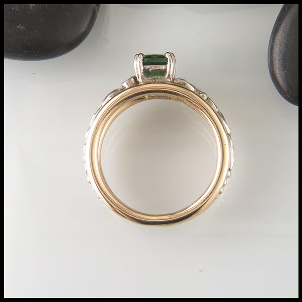 Cushion Tsavorite Gold Engagement Ring
