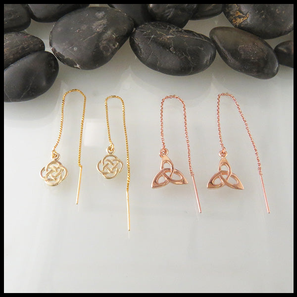 Celtic Threader Earrings in Gold