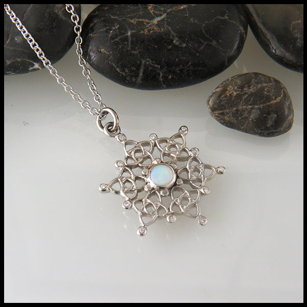 Celtic Knot Snowflake with Opal and Diamond