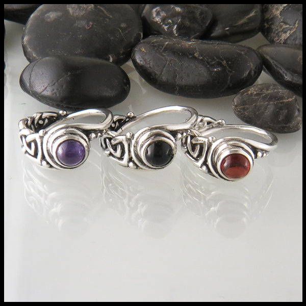 Celtic Ring with Garnet in Silver