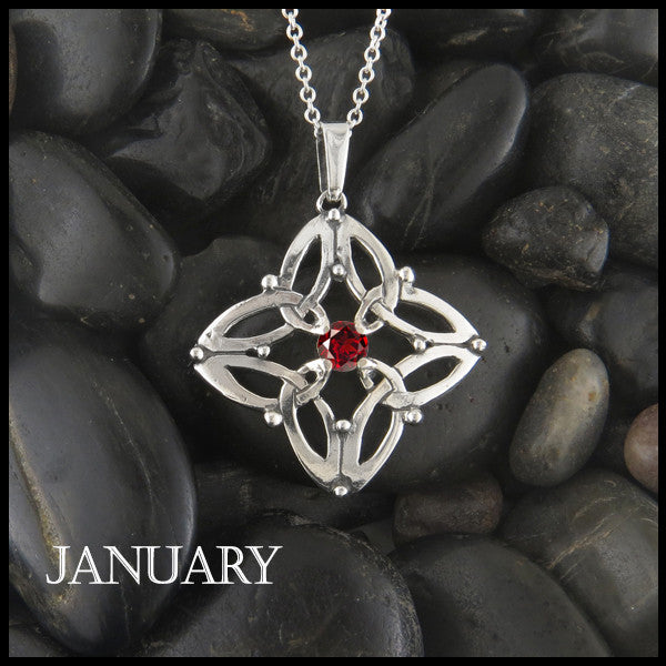 January Birthstone Celtic Trinity Star Pendant