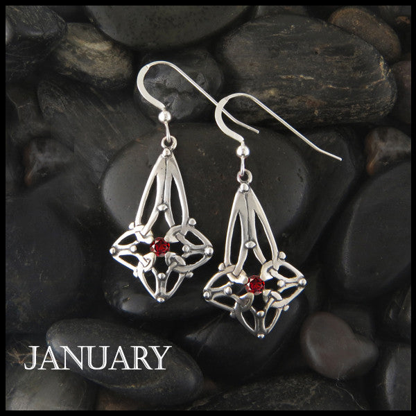 January Birthstone Celtic Trinity Star Earrings in Silver