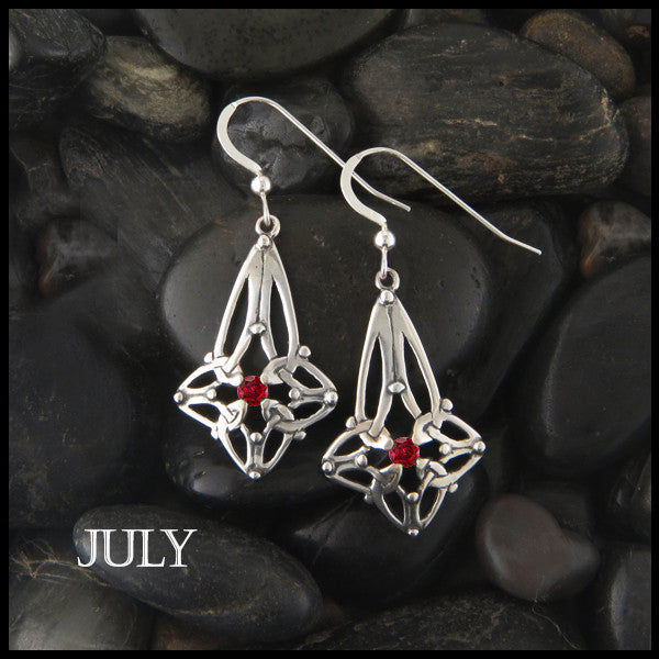 July Birthstone Celtic Trinity Star Earrings in Silver