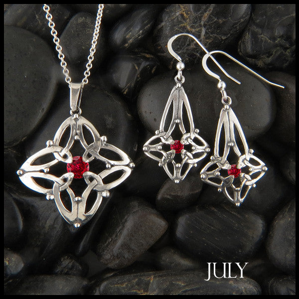 July Birthstone Celtic Trinity Star Pendant and Earring Set