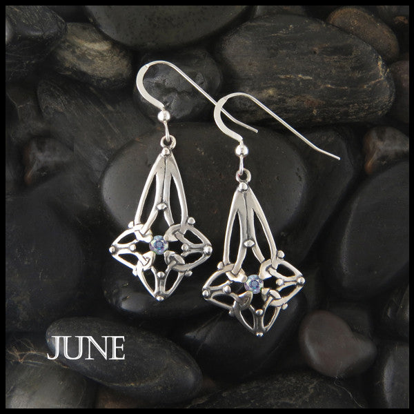 June Birthstone Celtic Trinity Star Earrings in Silver