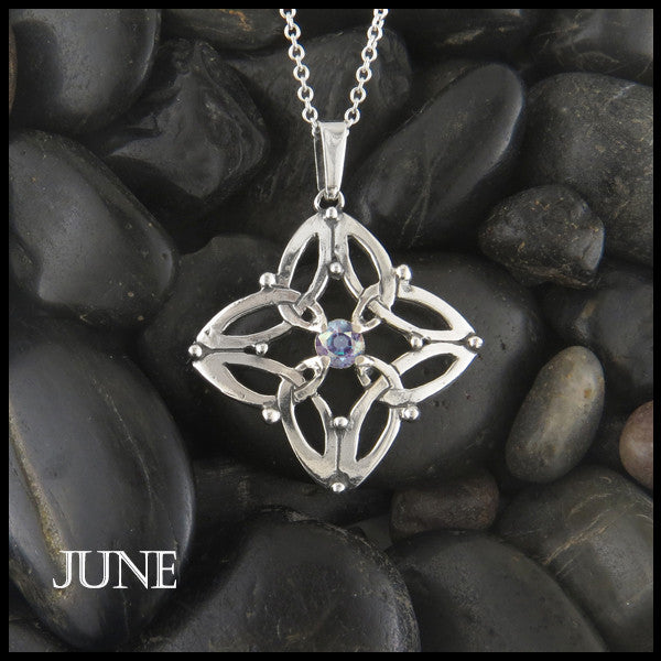 June Birthstone Celtic Trinity Star Pendant