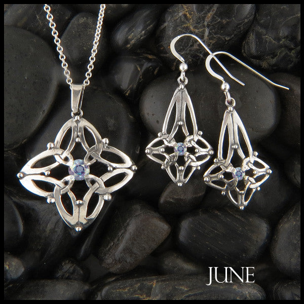 June Birthstone Celtic Trinity Star Pendant and Earring Set