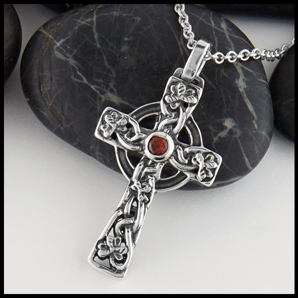 Celtic Shamrock Cross with Gemstones