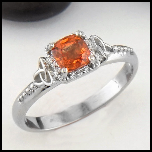 Orange Sapphire Gold Ring
