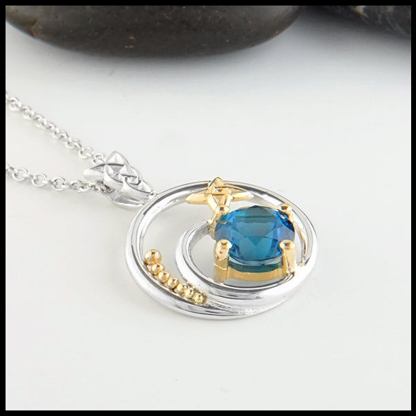 Celtic Knot and Blue Topaz Pendant