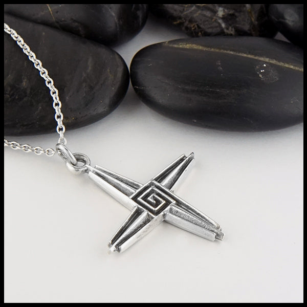 Large and small St. Brigid's Crosses in Sterling Silver