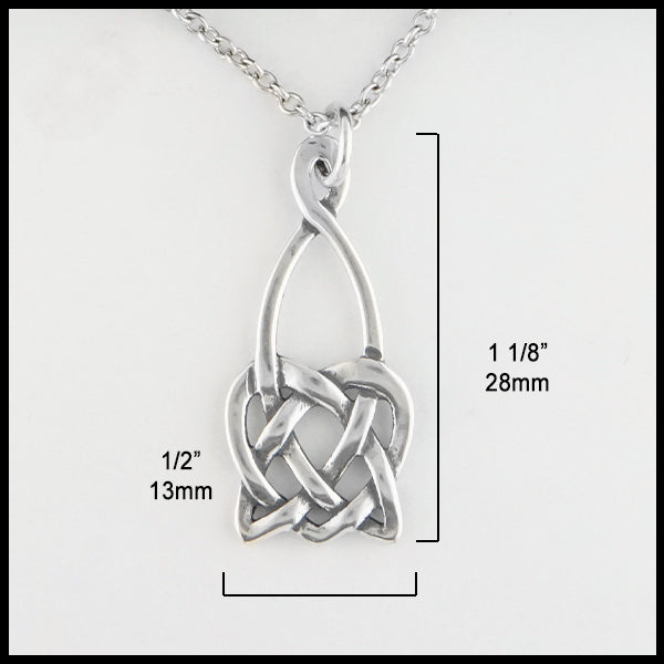 1/2 inch by 1 1/8 inches Open Heart Knot Pendant