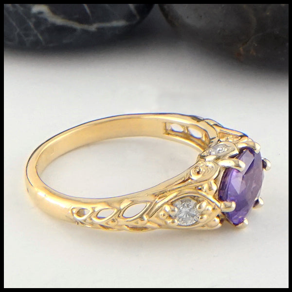 Purple Sapphire and Diamond Gold Ring