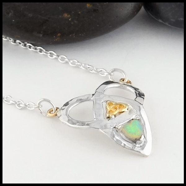 Profile view Trinity Knot and Heart Shaped Opal Necklace