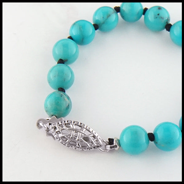 Turquoise Beaded Necklace clasp