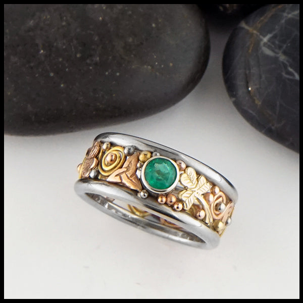Shamrock and Triquetra Emerald Band